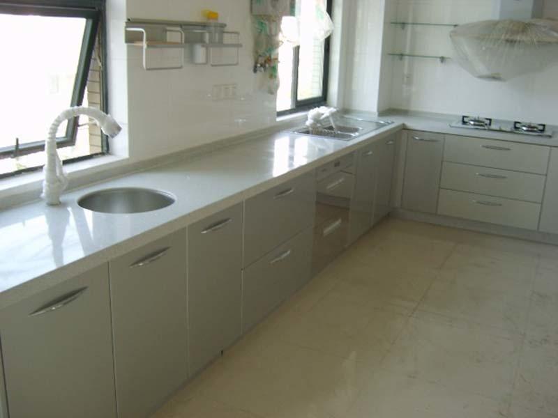 Blanca encimera de cuarzo para la cocina para cuartos de for Encimeras de cocina de cuarzo