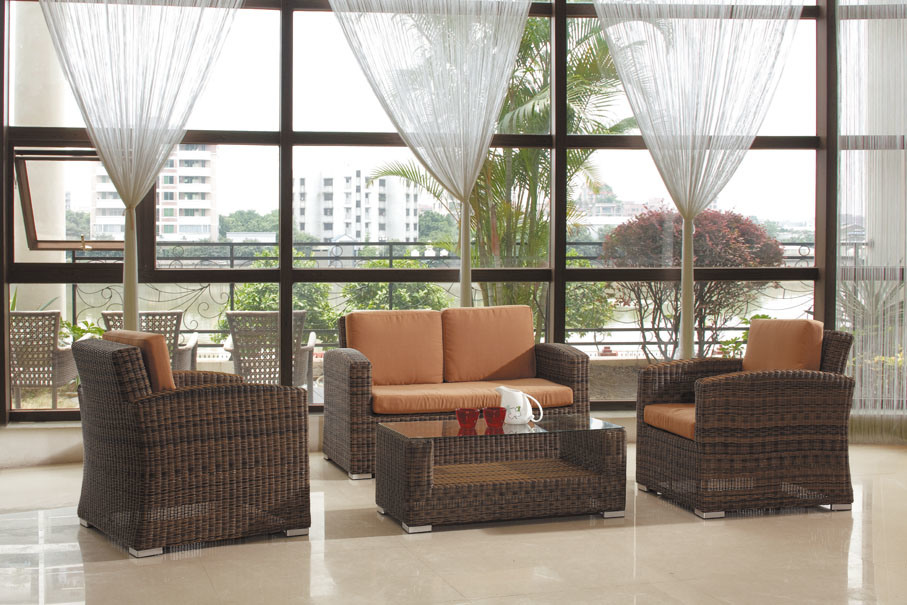Het moderne ronde rieten meubilair van de tuin van de bank vastgestelde openlucht bz r005 - Meubilair van de ingang spiegel ...
