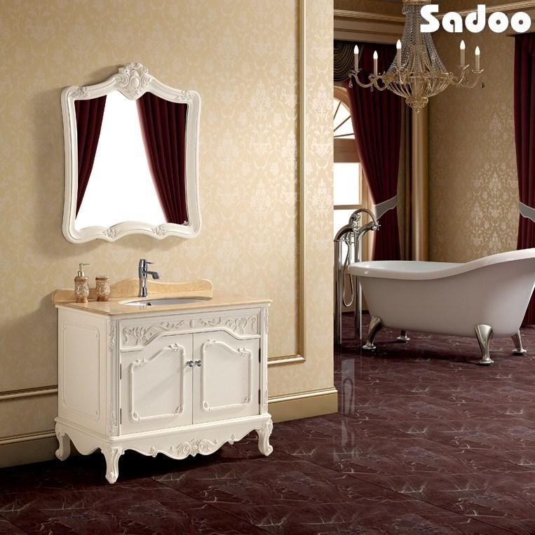 Gabinete Para Baño Madera:de baño blanco antiguo de madera sólida (SD-SE1103) – Gabinete de