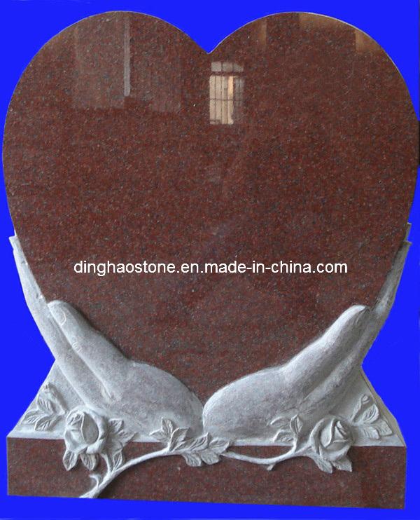 Pierre tombale de granit de mod le de coeur avec d couper la main pierre tombale de granit de - Modele de coeur a decouper ...