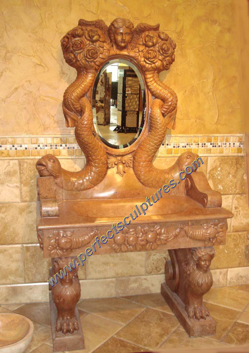 piedra de mrmol antiguas del lavabo del fregadero de lavado de muebles de bao qbn