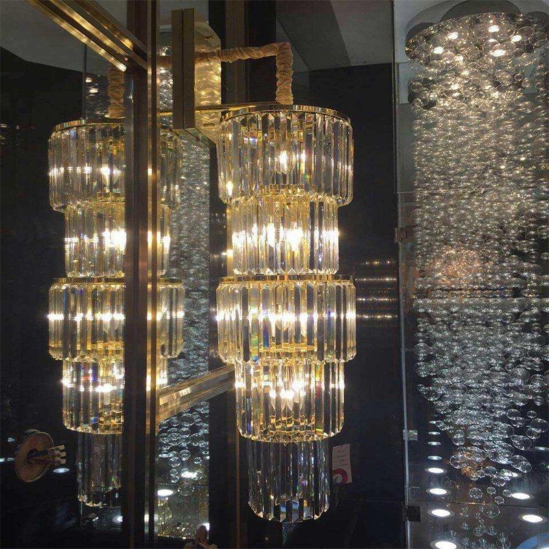 Grand lustre en cristal de luxe cylindrique moderne