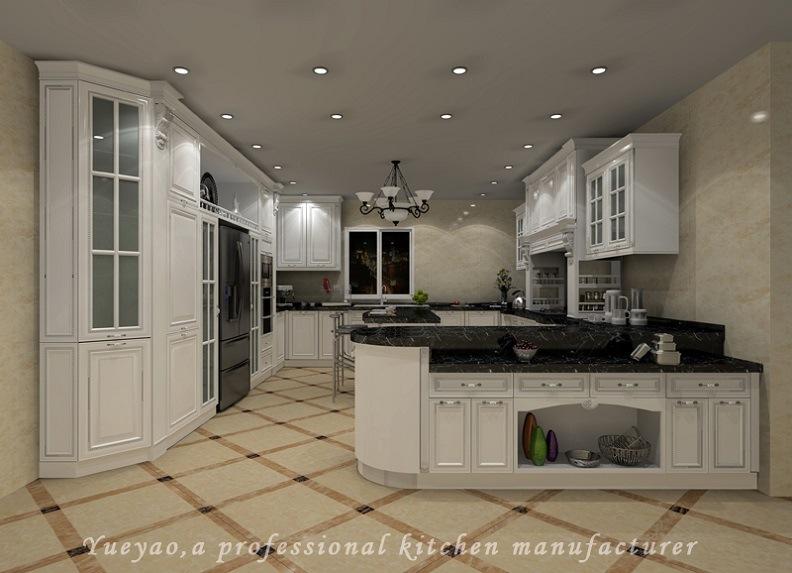 Armadio da cucina di legno di colore di stile americano bianco ...