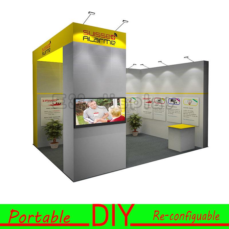 Basic Exhibition Booth : Customisable 휴대용 re configurable 무역 박람회 전시회 전시 부스 디자인에사진