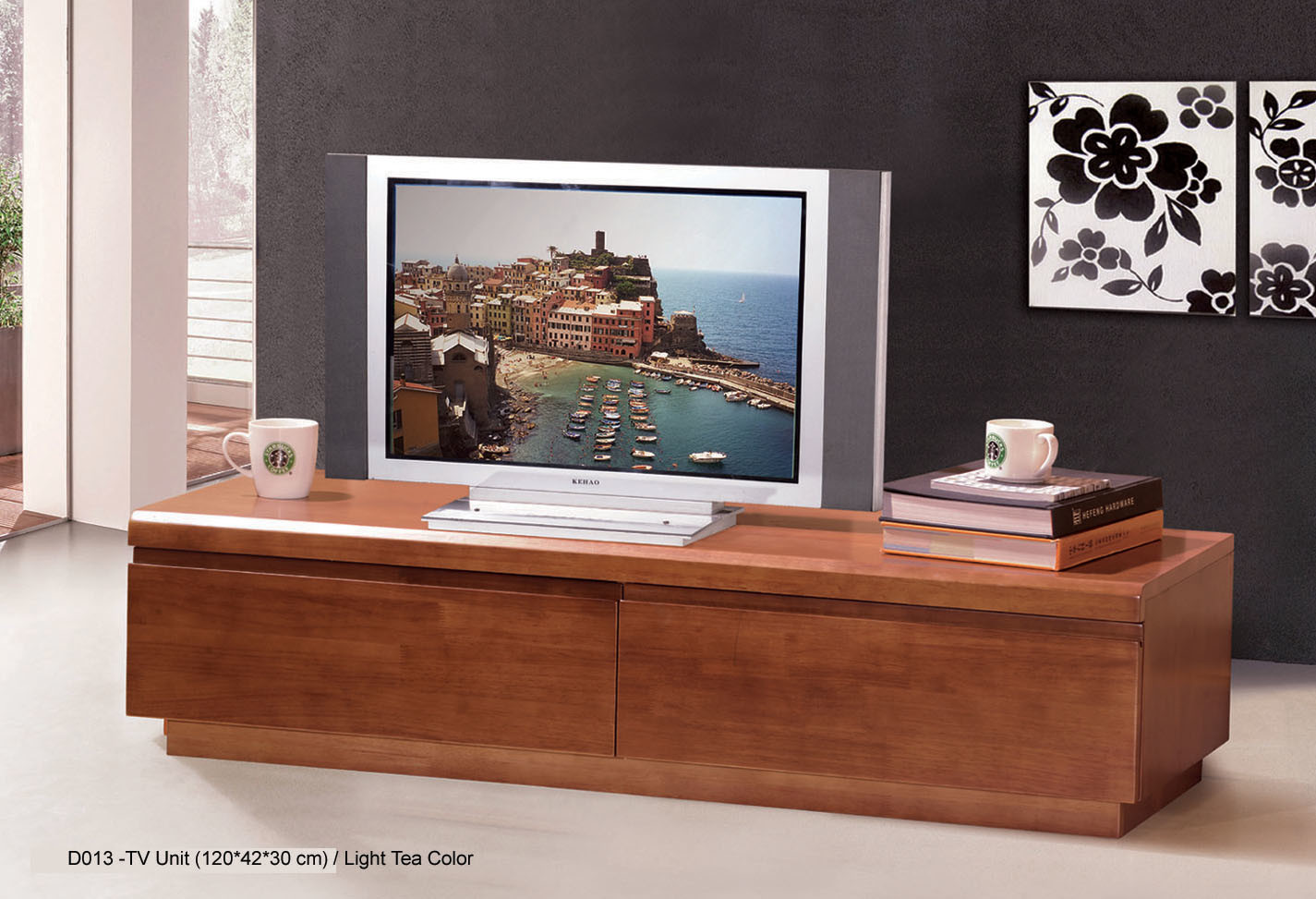 Soporte de madera de la tv para los muebles de la sala de for Muebles de tv de madera