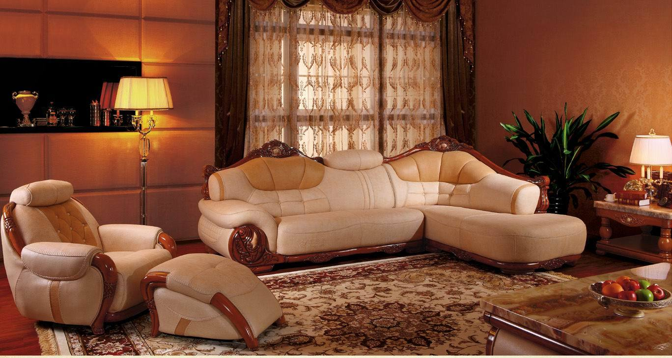 product Antique Wooden Leather Sectional Sofa Set A hergsiyny