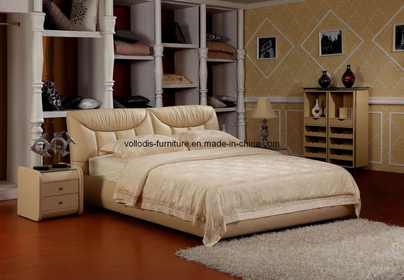 Lit lit et de meubles et de cuir modernes de chambre à coucher (B811