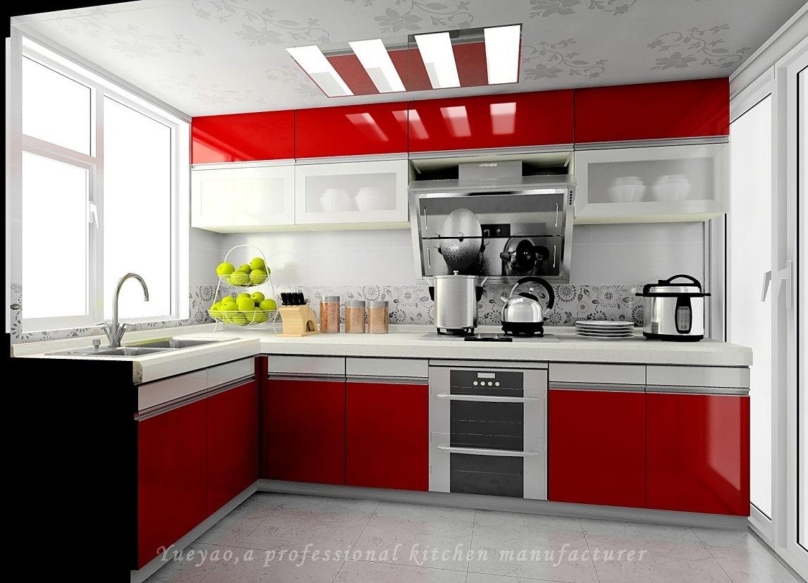 Gabinete de cocina modular de la alta laca brillante roja for Cocina roja y negra