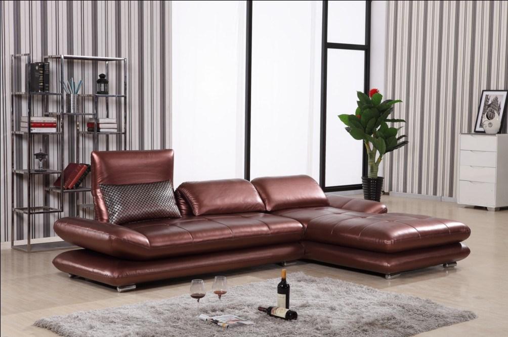 De bruine bank van de hoek van het leer van de kleur van chinees meubilair al503 de bruine - Eigentijdse bank ...