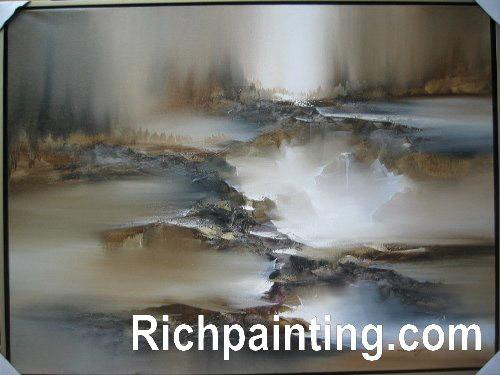 Peinture l 39 huile la maison abstraite de d coration de qg 6 peintur - Peinture a l huile abstraite ...