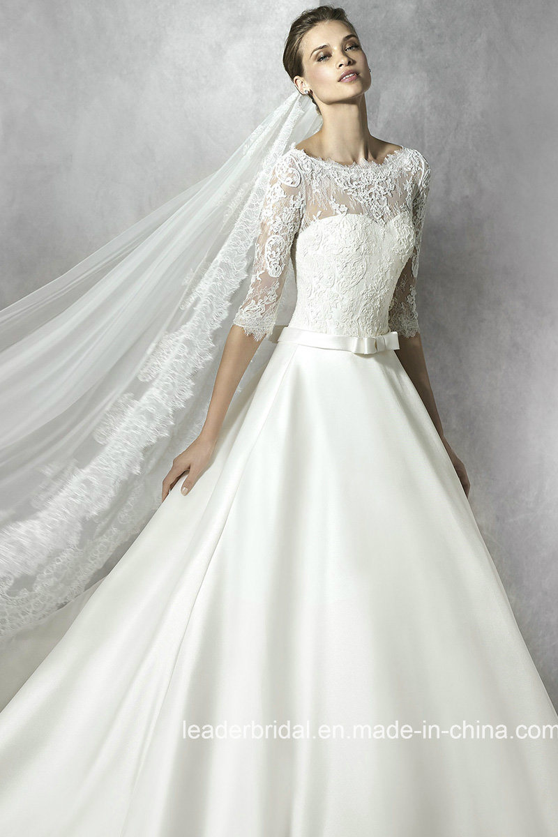 A LinePrincess V Neck Beaded Lace Satin Simple Wedding