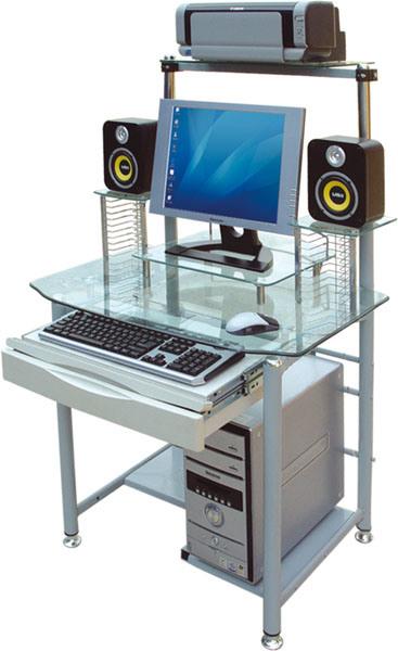 de la computadora y muebles blancos de la computadora del vidrio