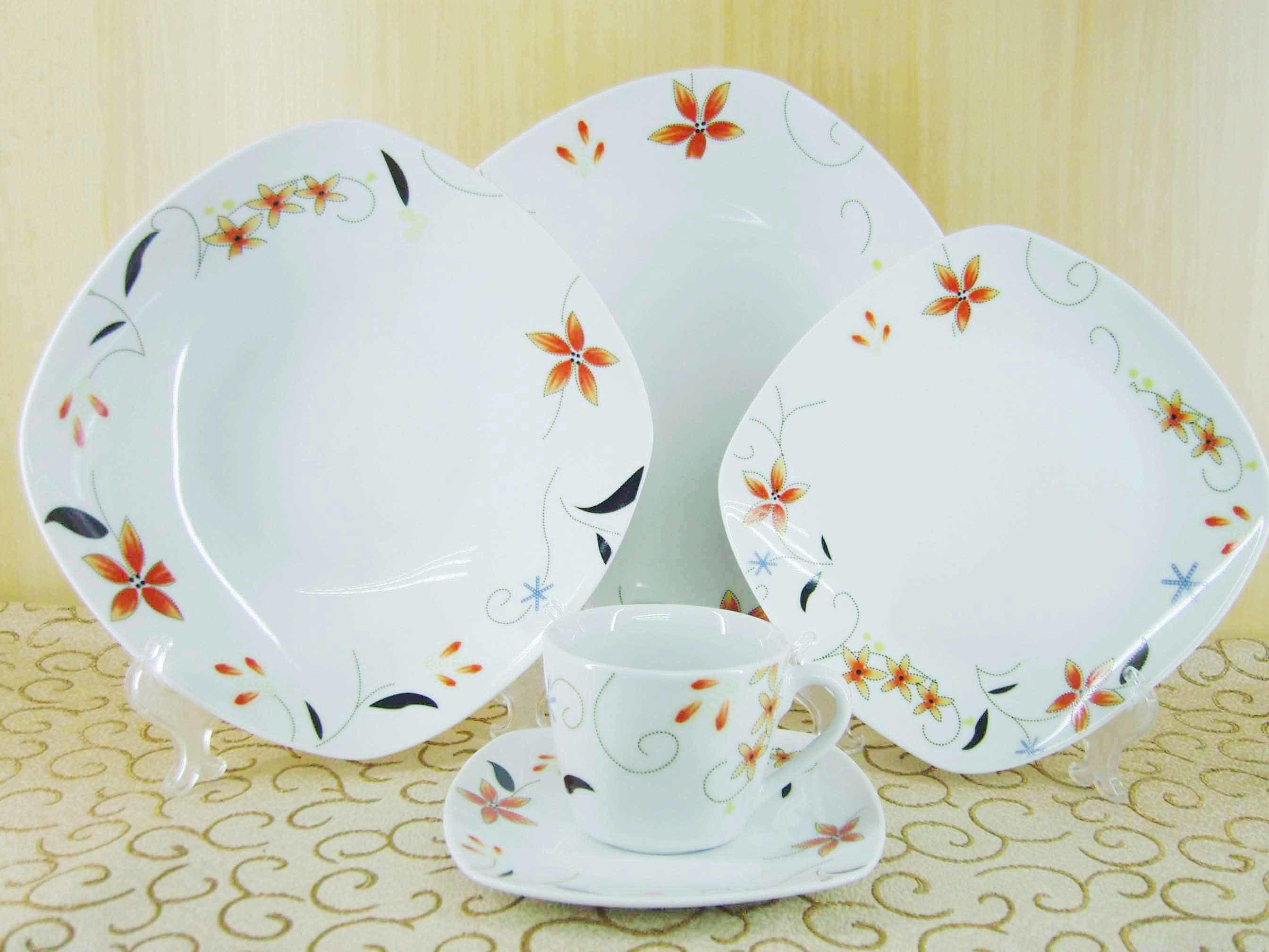 Vajilla cuadrado de la porcelana 30pcs servicio de mesa - Vajilla de porcelana ...