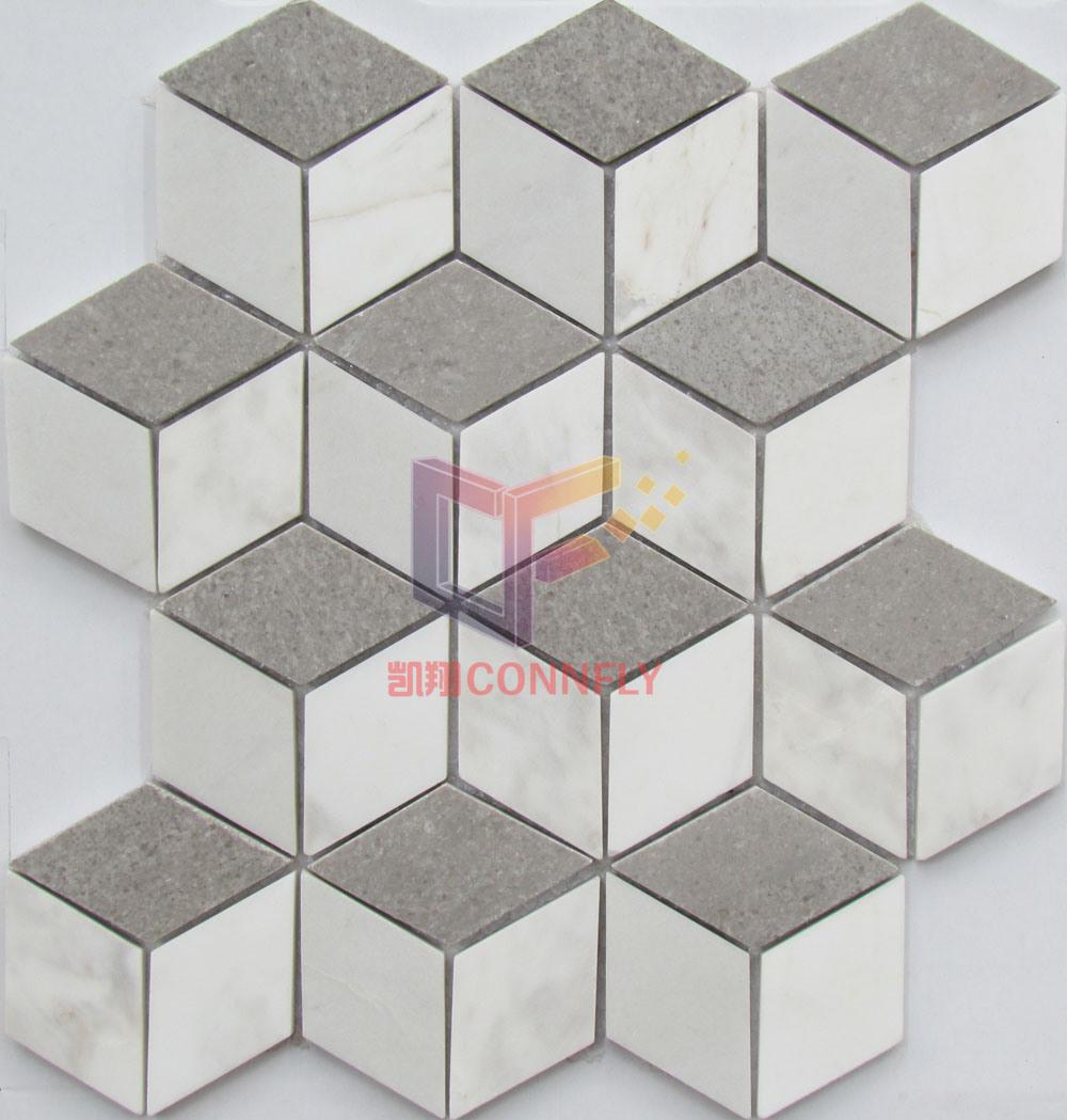 die dreidimensionale geometrie muster marmor mosaik fliesen cfs992 foto auf de made in. Black Bedroom Furniture Sets. Home Design Ideas