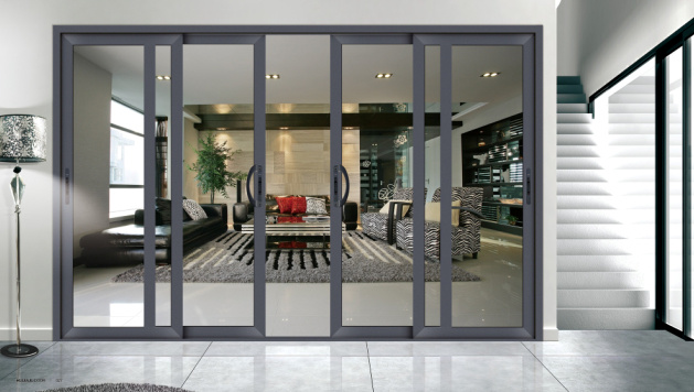 Puerta de aluminio europea del patio del vidrio de for Puertas para patio interior