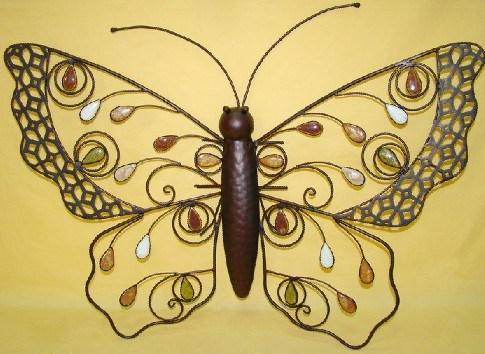 Decoraci n de la pared de la mariposa del hierro del metal - Mariposas en la pared ...
