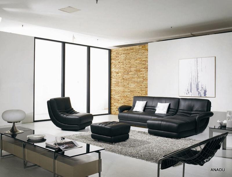 De zwarte bank van het leer van de kleur met draaistoel van het meubilair van het huis de - Eigentijdse bank ...