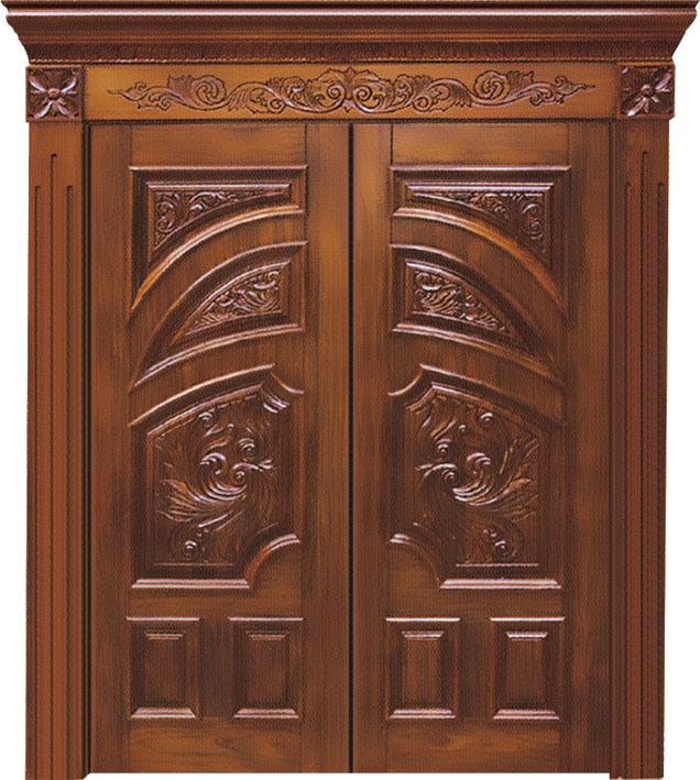 Puertas de madera s lidas dobles con la talla del lujo ph for Puertas de madera en oferta
