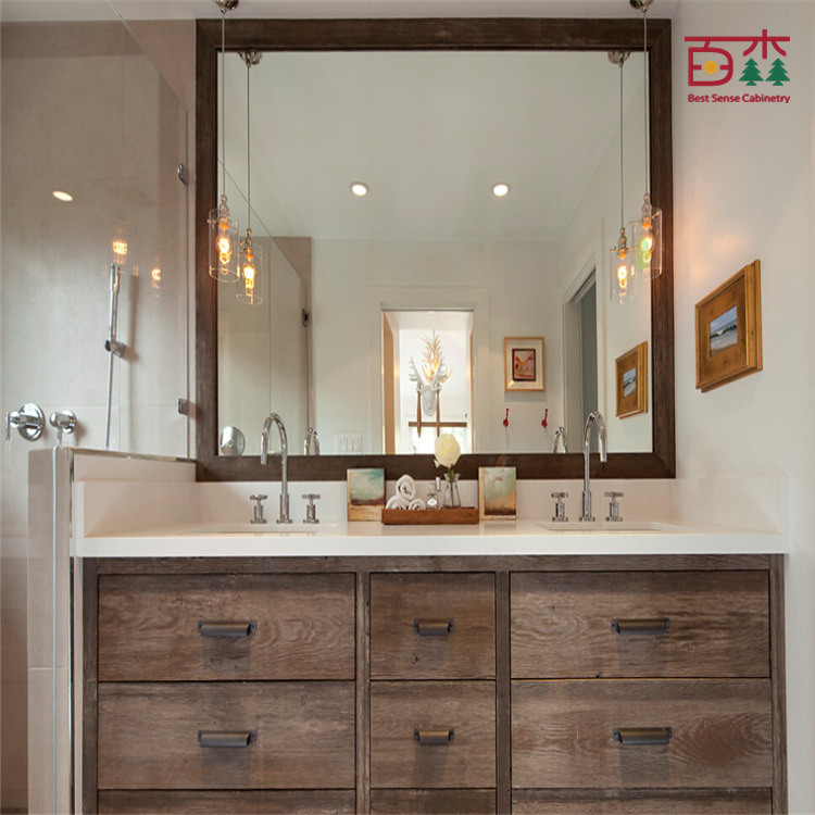 Cabinet en bois plein moderne de vanit de salle de bains for Cabinet salle bain