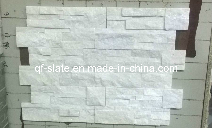 Neige blanche naturelle quartzite pierre murale d corative bardage neige blanche naturelle for Pierre decorative murale