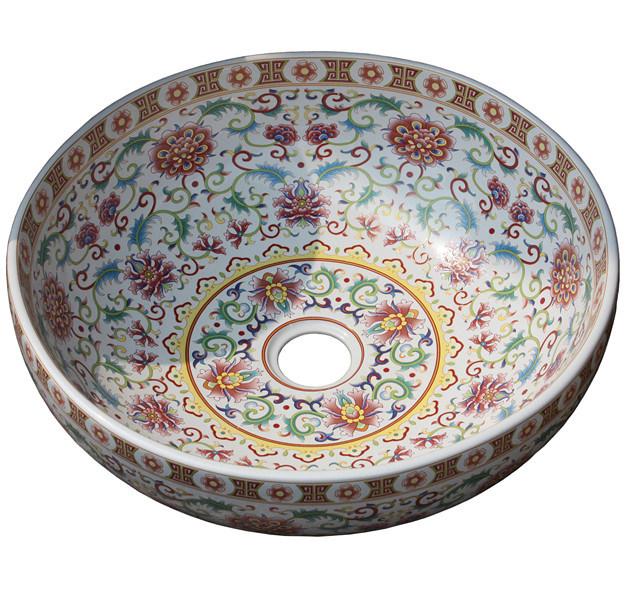 Lavabo de cer mica pintado redondo fse cps t005 de la for Lavabos de ceramica