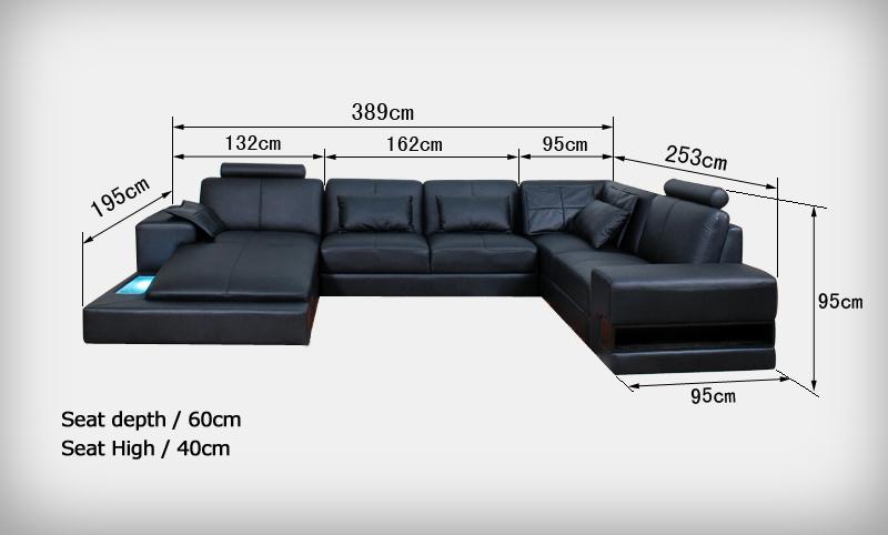 De zwarte sectionele bank van het leer van de vorm van u van het meubilair al221 van het huis - Na de zwarte bank ...