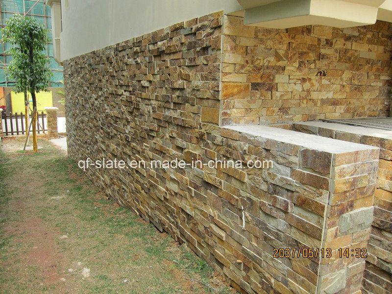 Piedra multicolora de oro natural del panel de pared de la - Panel de piedra natural ...