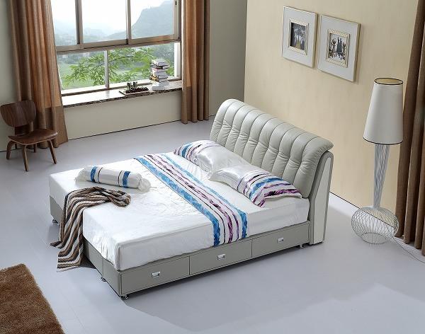 2015 새로운 가죽 침대, 특대 최신 판매 이탈리아 침실 디자인, 두 ...