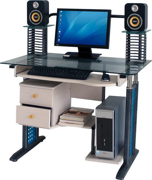 Meubles d 39 ordinateur et bureau en verre en acier c 43 meubles d 39 or - Meuble ordinateur en verre ...
