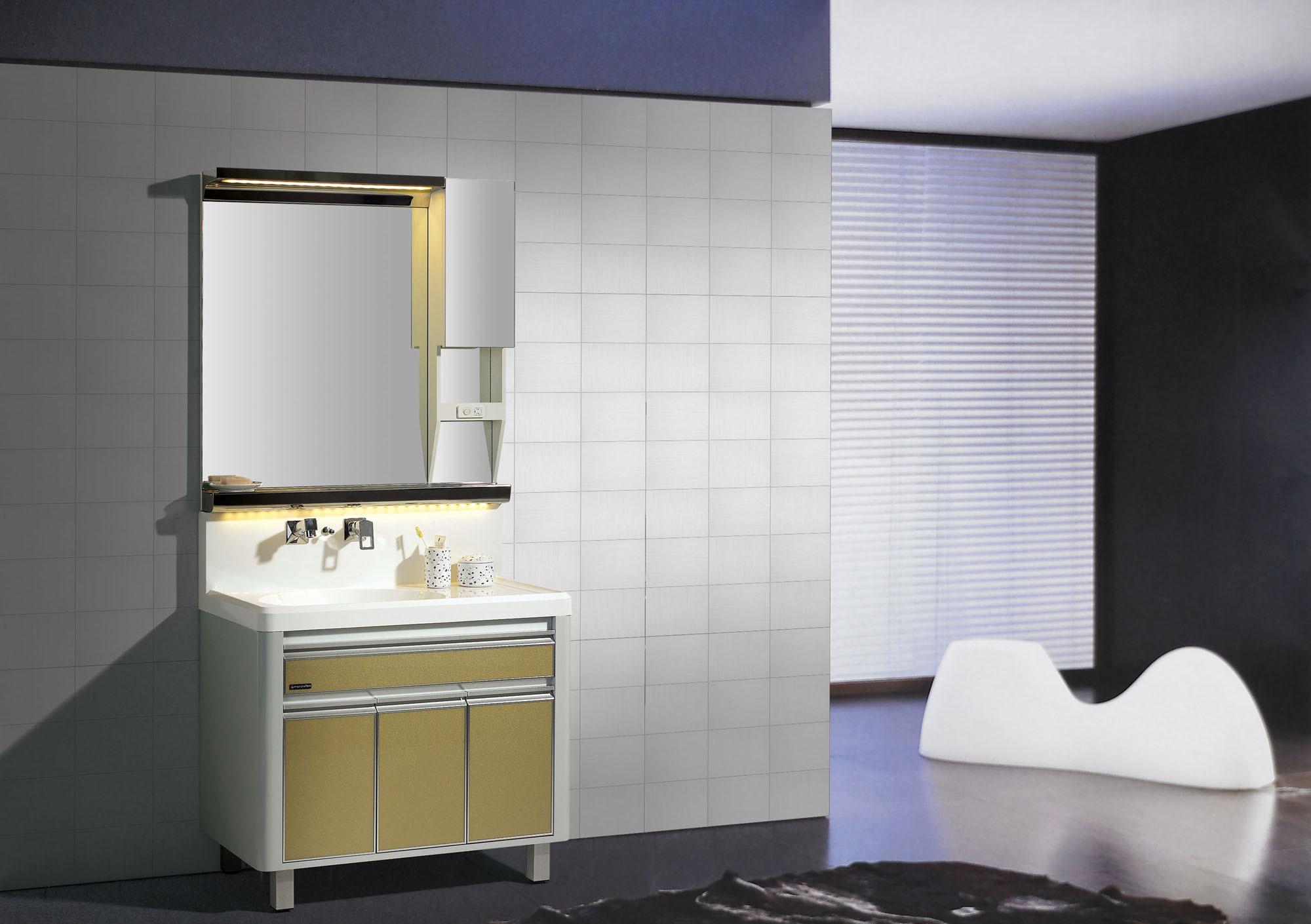 Vaidade nova do banheiro com o armário do espelho da Névoa Prova  #887843 2000x1410 Banheiro Armario Com Espelho
