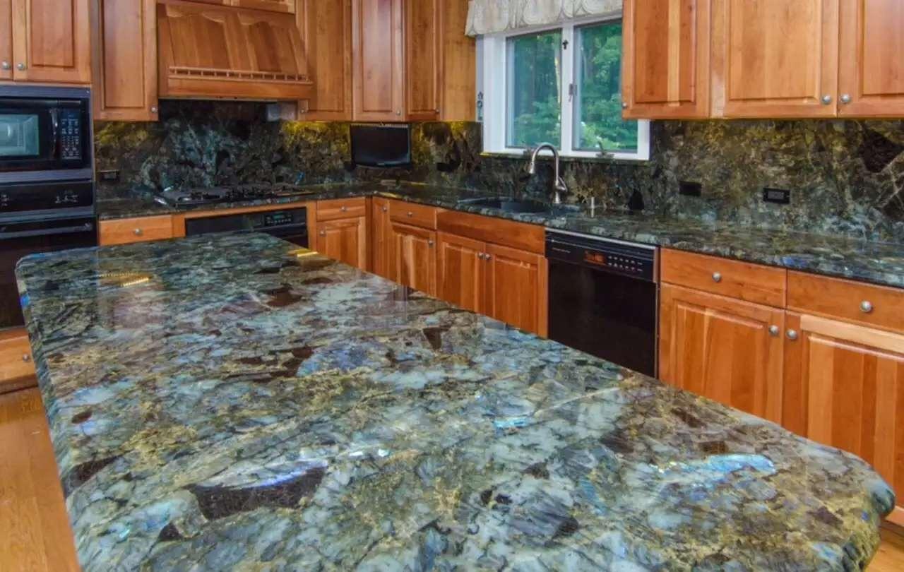 jade azul onyx labradorita gran losa mueble de cocina