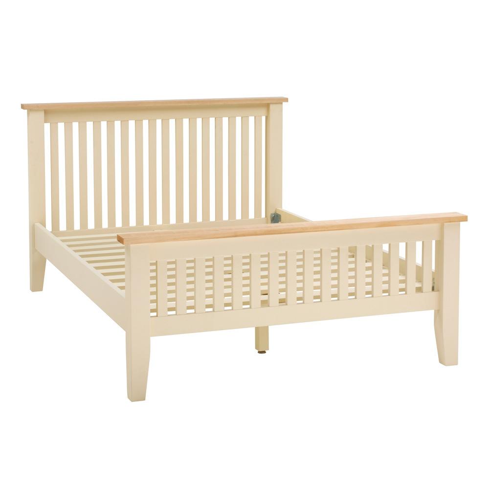 Cama matrimonial de madera s lida base de madera pintada - Bases de camas de madera ...