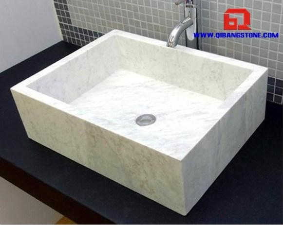 Gootsteen van de badkamers van guangxi de witte rechthoekige marmeren qb 078 gootsteen van - Rechthoekige gootsteen ...