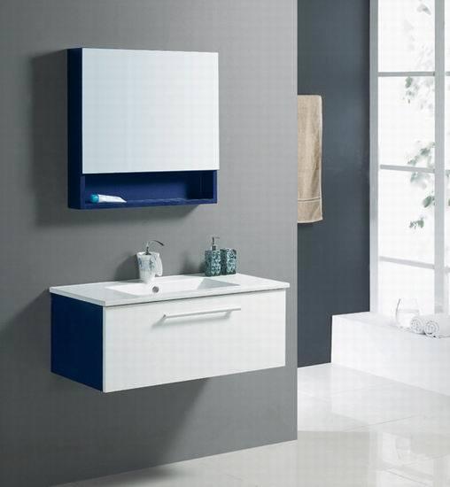 Vanit blanche de salle de bains de tona avec le cabinet for Cabinet de salle de bain