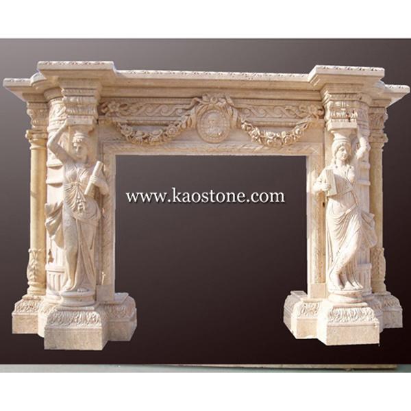 tallado de mrmol amarillo chimenea de piedra para interior y exterior