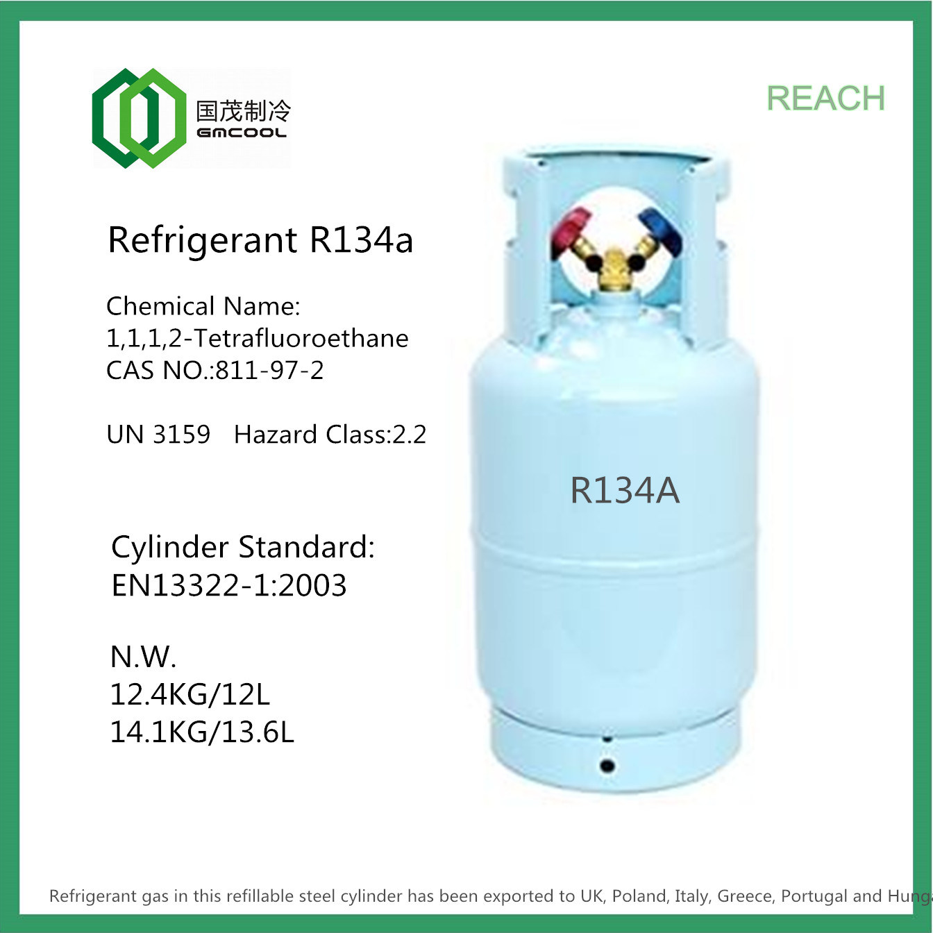 #17832F Guomao Refrigerant Gas (R134A) With Refillable CE Cylinder  Brand New 5961 R12 Refrigerant Replacement Gas images with 1344x1344 px on helpvideos.info - Air Conditioners, Air Coolers and more