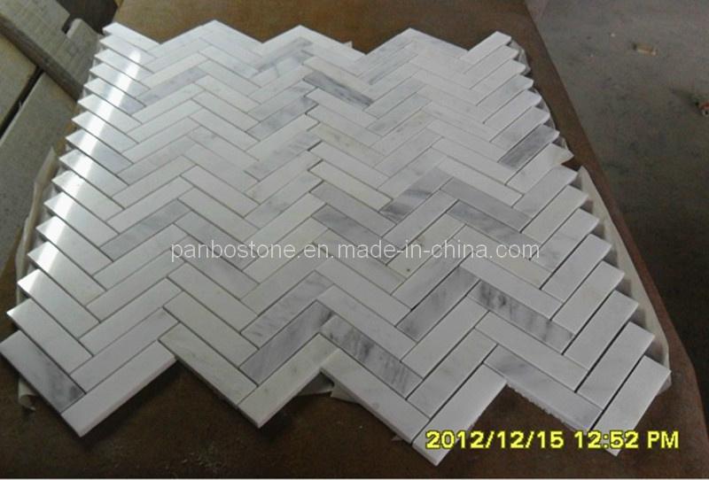 De grote tegel van het moza ek van de visgraat oosterse witte pbs mo030 de grote tegel van - Oostelijke mozaiek ...