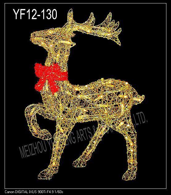 Iron reno del alambre con las luces yf12 130 iron reno - Renos de navidad con luces ...
