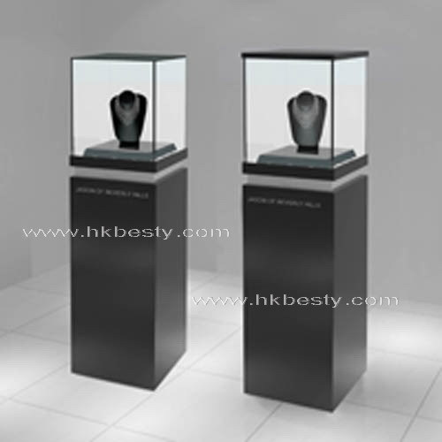 Glass en bois jewelry tower display stand jewelry pedestal for Miroir projector stand