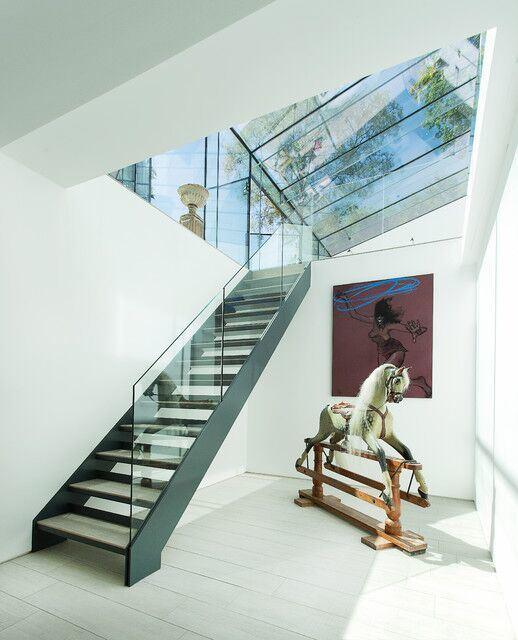 escaleras de madera del voladizo del kit de la escalera del pasamano de cristal interior