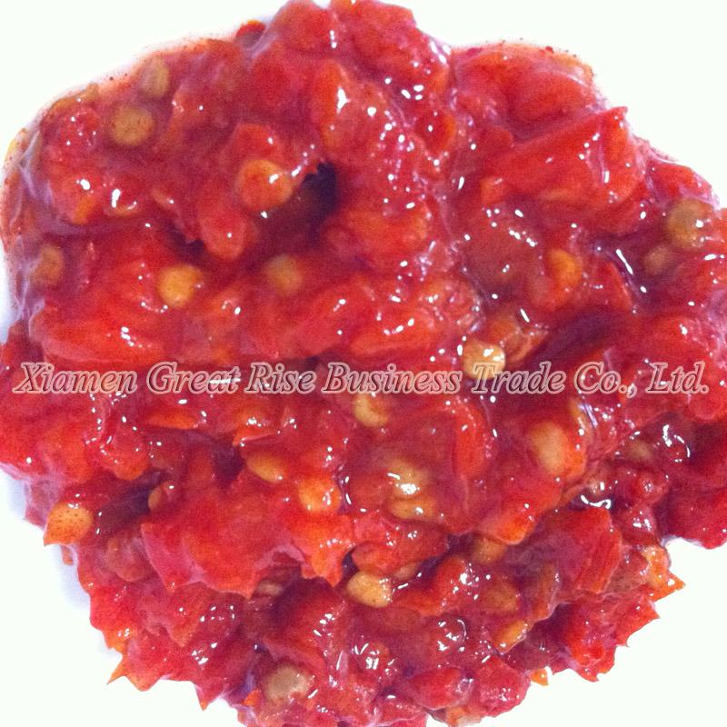 Condimento rojo picadito de la salsa de chile del buen carácter ...