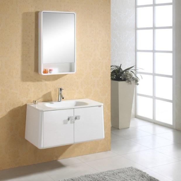 Armário de banheiro moderno americano da madeira contínua do estilo (AGP003)  -> Banheiro Estilo Moderno