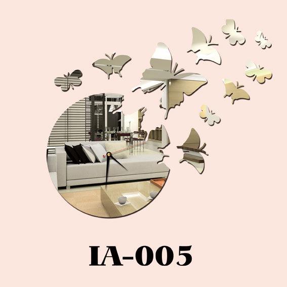 horloge de miroir de mur de papillon ia 005 horloge de. Black Bedroom Furniture Sets. Home Design Ideas