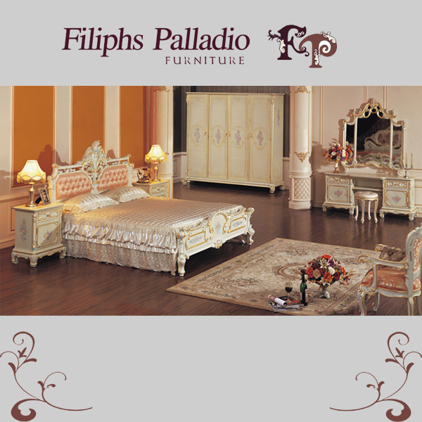 Serie antica della mobilia camera da letto di legno solido - Descrizione della camera da letto ...