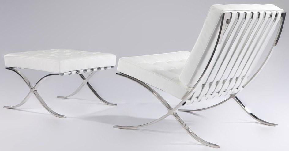 Silla y otomano de barcelona del cuero blanco silla y - Cuero para tapizar sillas ...