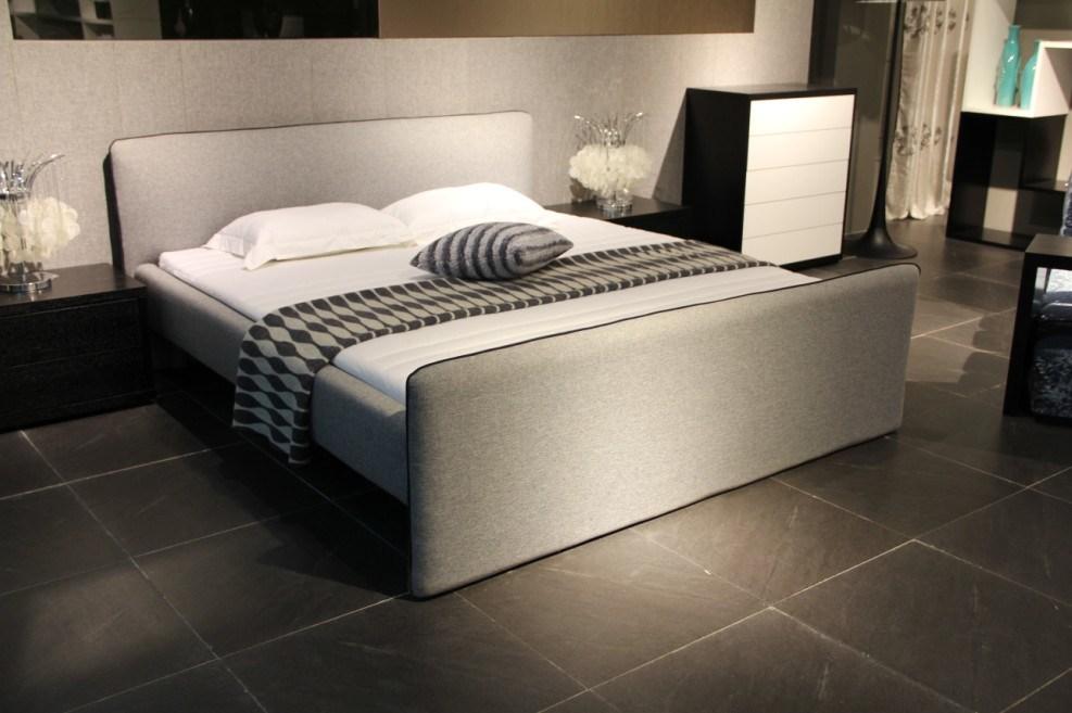 Cama tapizada tela moderna del estilo del tama o de la - Base cama almacenaje ...