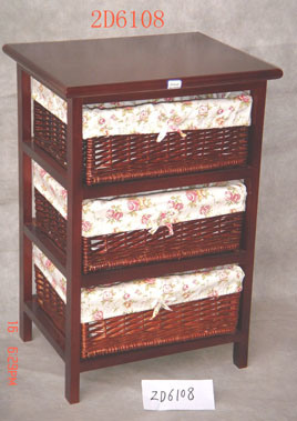 Gabinete de madera con 3 cajones de mimbre 2d6108 - Cajones de mimbre ...