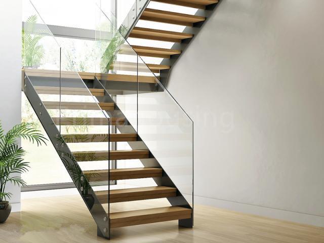escalera de cristal residencial del acero inoxidable con la viga lateral