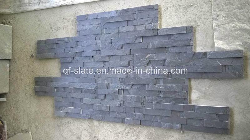 Pietra spaccata del rivestimento della parete dell'ardesia nera naturale per la parete della ...