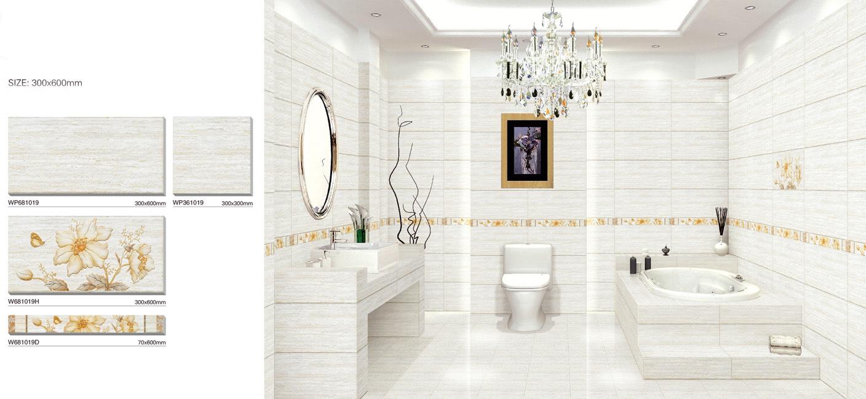 Azulejos Baño Blanco:Baldosa cerámica, azulejo de la pared del cuarto de baño (WP681019